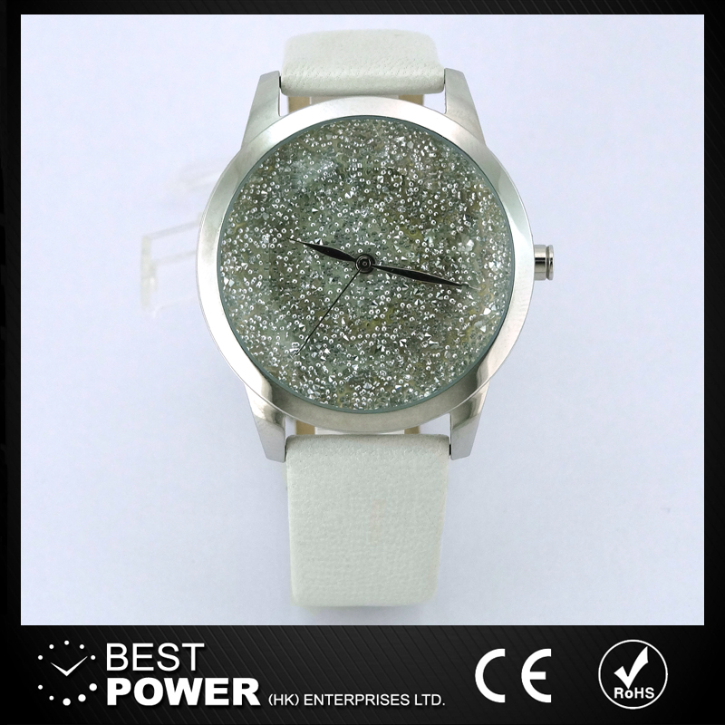 Genuine white leather band cut glass dial ladies watches round alloy case stainless case back watch
