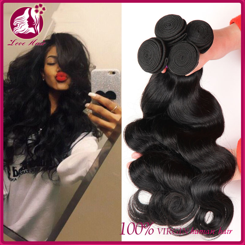 Enough weight peruvian human hair extension body wave texture 18inch for customers
