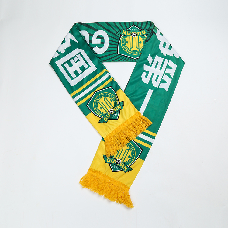 China factory supply mini banner custom print knitted football fan scarf,100 polyester scarf