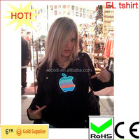 Custom Hip Hop led t-shirt/Programmable led t shirt with 4AAA inverter
