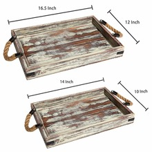 Antique Rustic food wood serving tray with handles