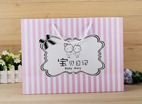 new pink gift bags Horizontal version of the garment bags Portable stripe cosmetic bags wholesale paper bag