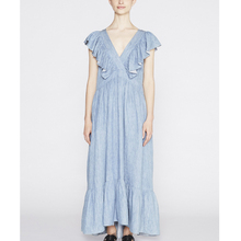 Ruffle sleeves V neck backless long denim maxi dress