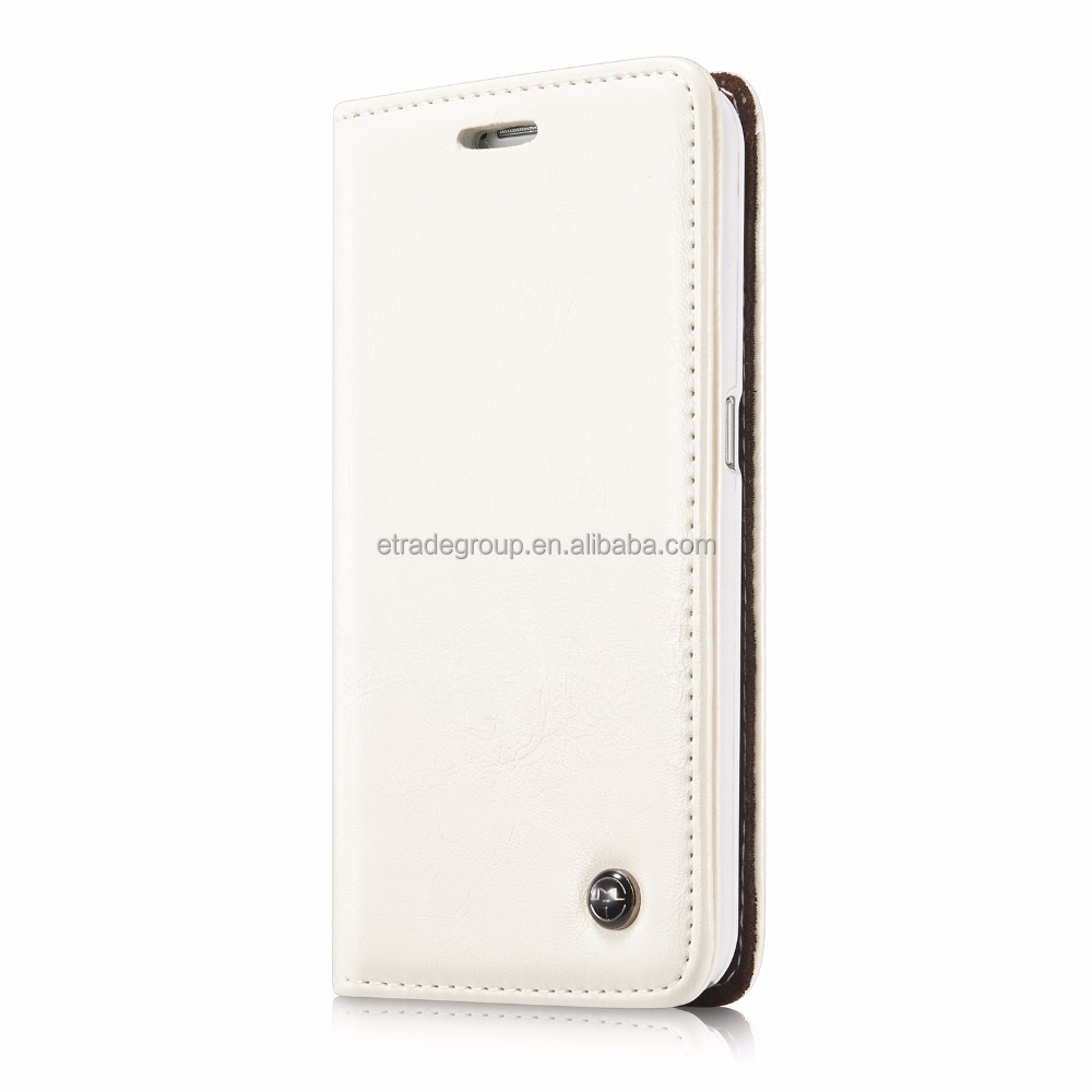 Caseme S6-003 PU Leather Stand Cover Wallet Phone Case (White)