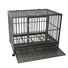 heavy duty square tube folding dog kennel with casters
