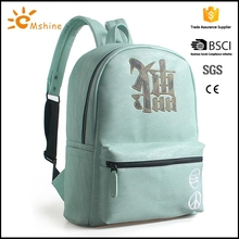 Eco friendly custom printed canvas backpack with leather flap