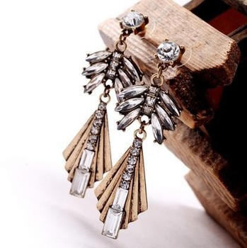 Alibaba express high end costume jewelry top bling crystal earring vintage brass luxury earring