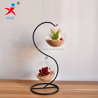 hand made clear glass globe terrariums vase with metal hook/ glass ball for wedding decoration