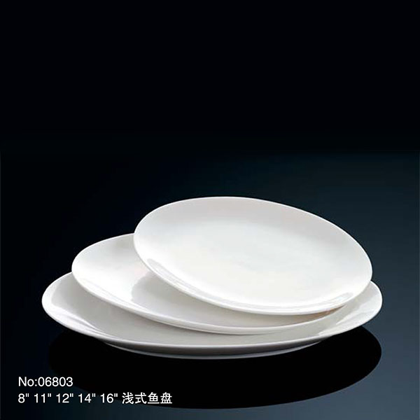 elliptical shape hand made ceramic plates