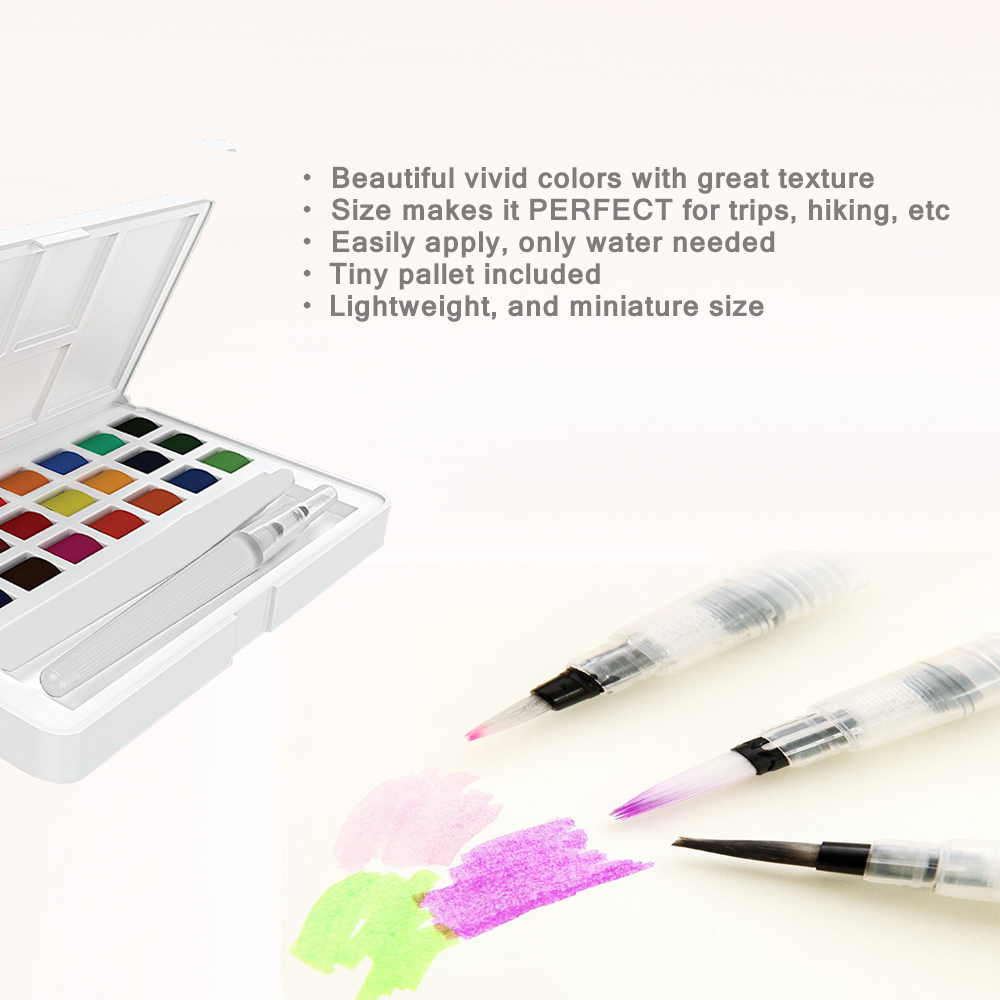 24 Portable Solid Watercolor Paint Set with Bonus Paintbrush & Inlay Pallete