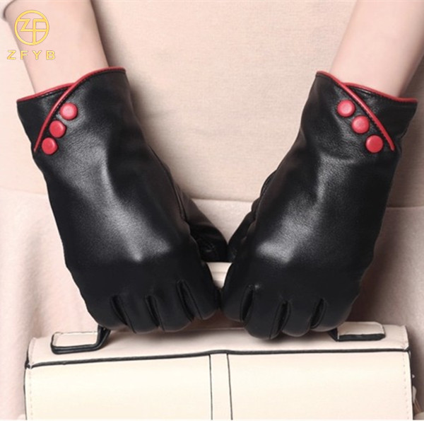 ZF0031 Black Leather Glove Fashion lady leather Hand Gloves China Suppliers