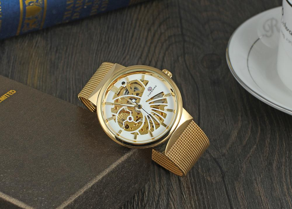 Forsining Factory Hot selling Mechanical Skeleton Custom Logo Gold Watch Water Resistant
