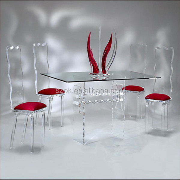 luxury elegant customized dinning table sets acrylic furniture