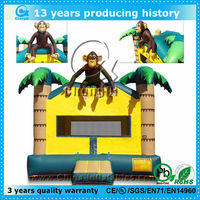 tropical inflatable monkey castle for kids