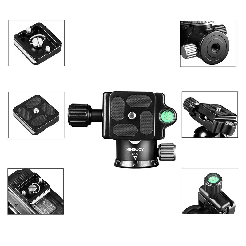 KINGJOY Cheap multi-functional Panoramic Professional AluminumTripod Ball Head for DSLR Cameras