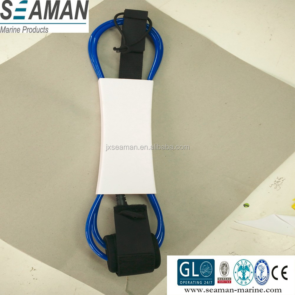 custom 6 feets 5/6/7mm diameter TPU straight surfboard surf leash with stainless steel swivel jionts