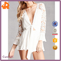 2018 Latest Fashion Self-Tie Crochet Sexy Romper with Lace body suit