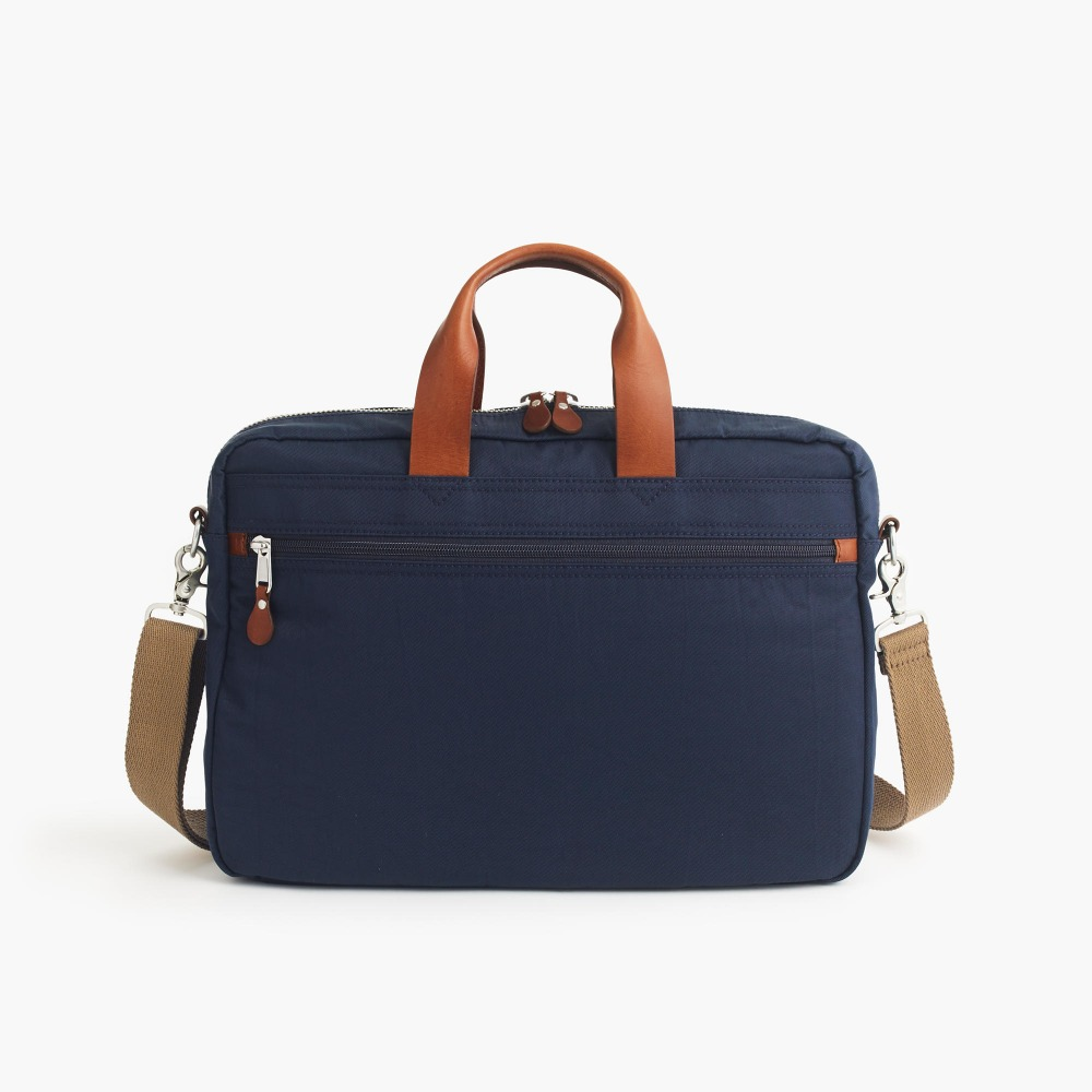 nylon briefcase laptop messenger bag with leather handle