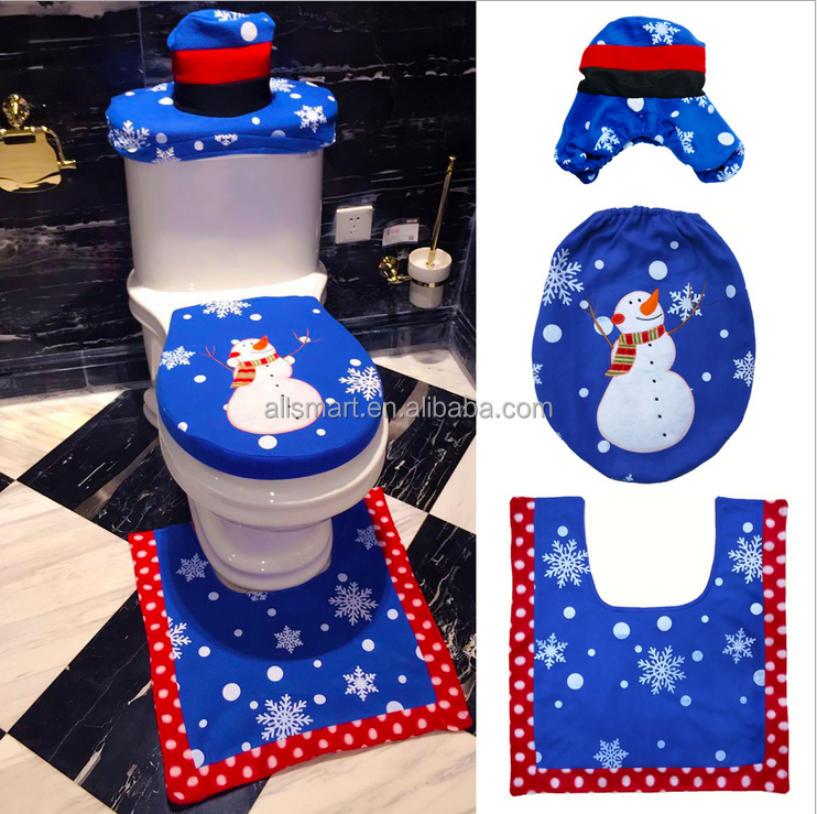 Christmas Decorations Snowman Santa Toilet Seat Cover and Rug Set for Christmas Bathroom