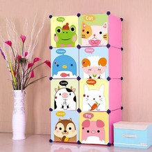 8 cubes pink color storage organizer container with cartoon design(FH-AL0030-8I)