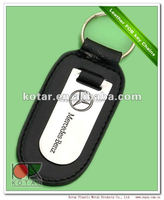 customized Benz logo plate leather keyring