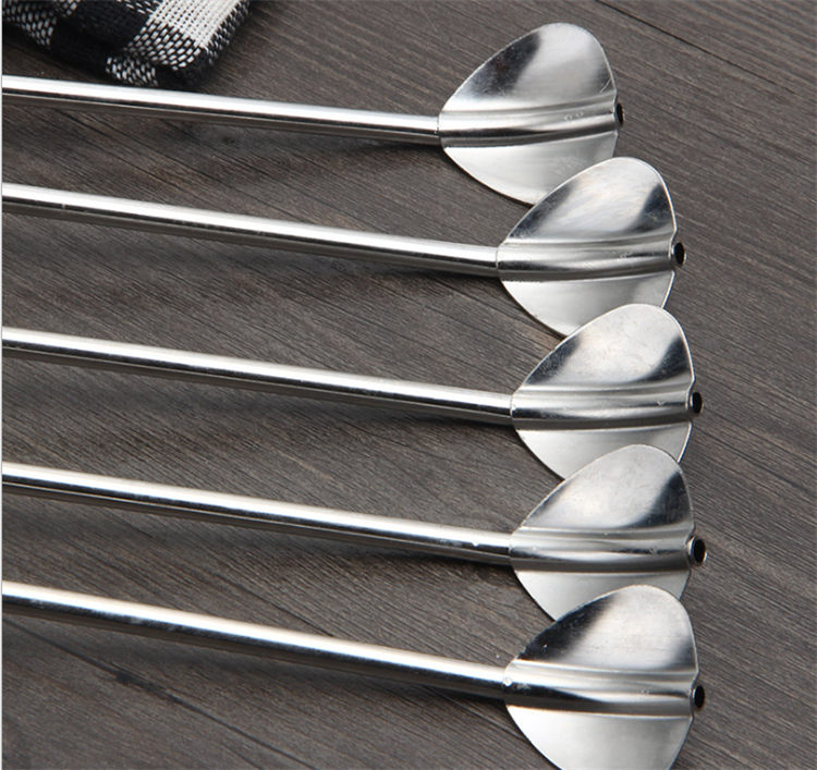 Heart straw spoon stainless coffee spoon stirring