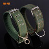 Army Green wide military dog collar super solid big heavy duty hunting dog collar