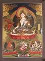 Thangka - Beautiful White Tara(Swetara) Buddha Tibetan Thangka Nepal
