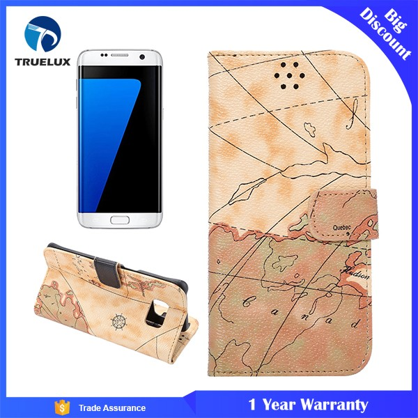 Map Style Mobile Phone Leather Case For Samsung Galaxy S7 Edge Kickstand Cover