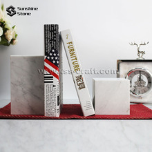 Natural White Marble Stone Decorative Art Bookends For Book Accessory
