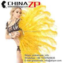 Yellow Glod Single Layer Ostrich Feather Fan Burlesque Dance Costume