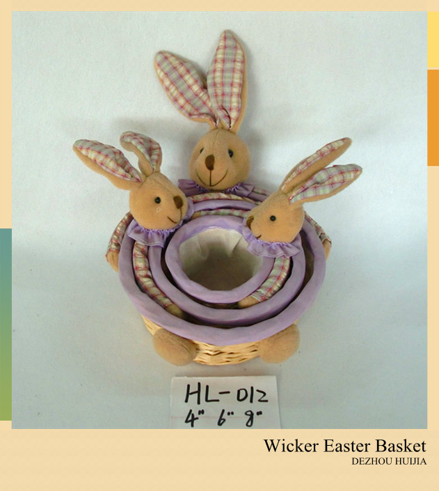 Plush Rabbit Wicker Easter Basket Wholesale