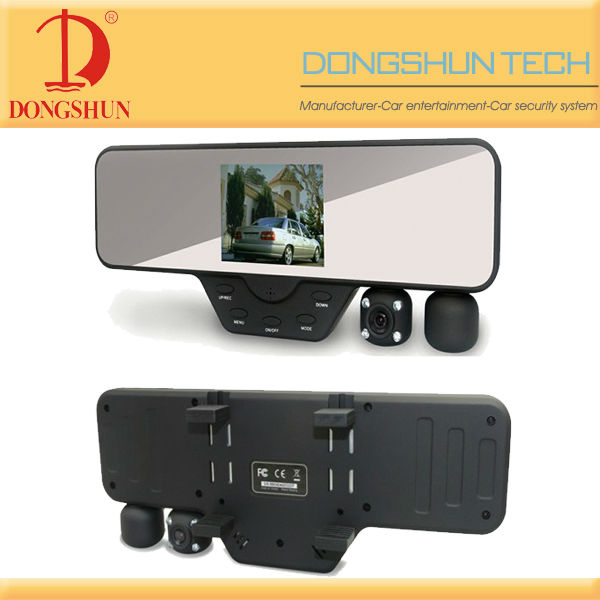DS-828 3.5 inch TFT LCD car rearview mirror car dvr with dual camera 1080P