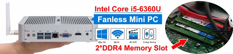 Portable mini pc desktop windows 10 memory 8gb ram ddr4 fanless mini pc i5 6360u HD graphics 540