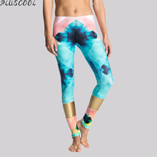 Wholesale light neoprene fabric printed yoga leggings with gold panel