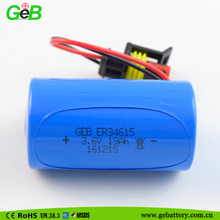 GEB 3.6v LISOCL2 lithium battery ER34615 19Ah D size battery with waterproof connector