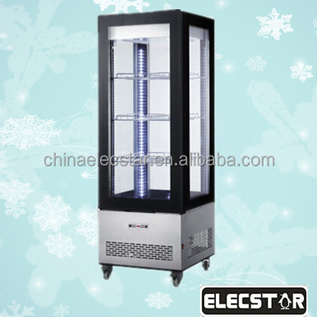 Supermarket vertical display refrigerated showcase, 4 sided glass door freezer, commercial refrigerator