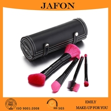 Nylon hair blush brush,foundation brush,eyeshadow brush 4 pieces double sided makeup brushes set with PU brush holder