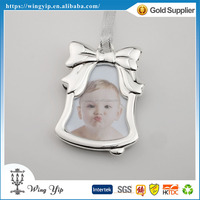 Tailor made trendy Bell Shape with photo Silver Christmas Gift for decoration