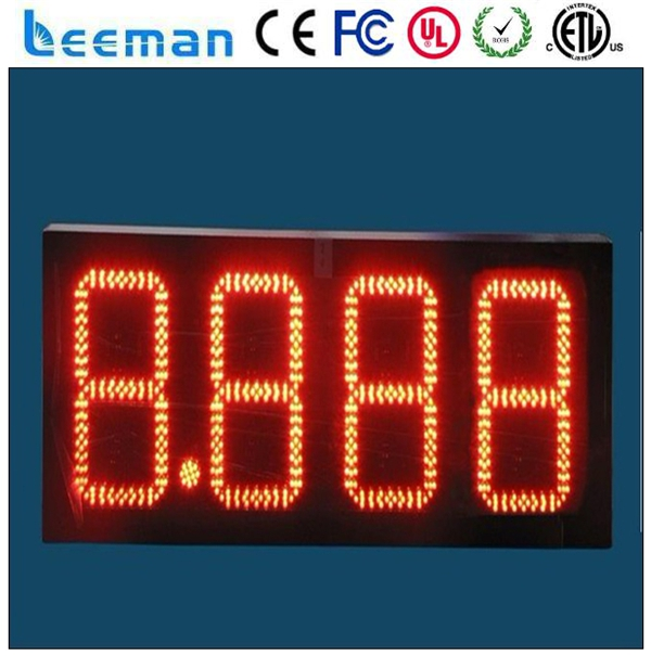 16'' outdoor led time and temp display ip65 gas station sign numbers digital on off timer