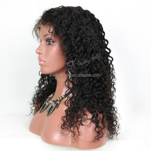 Real Natural Black Virgin Human Kinky Curly Swiss Lace Front Hair Wigs For Women