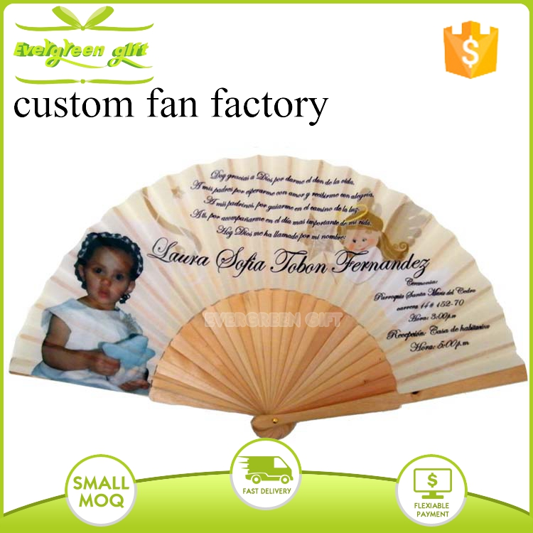 Custom Photo printed Wedding wooden ribs Folding Hand Fan