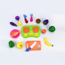 Plastic Educational Food Play Toy Cutting Fruit and Vegetables Set For Kids