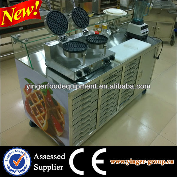New Design Commercial Waffle Maker Cart, Fast Food Cart For Sale