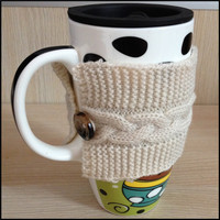Factory Wholesale hand knit custom mug sleeve cup cover
