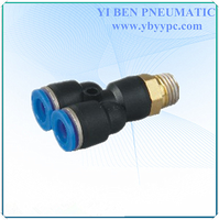 Air Pneumatic Tube 6mm-3/8 PT thread male branch hose bspp male thread y connector