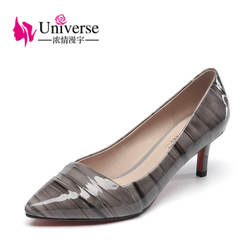 G031 red bottom thin heel women shoes patent leather pumps shoe buckles