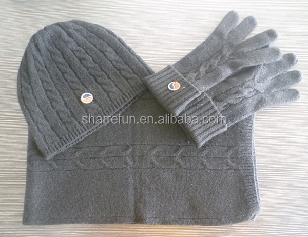 women's 100% cashmere scarf hat gloves set