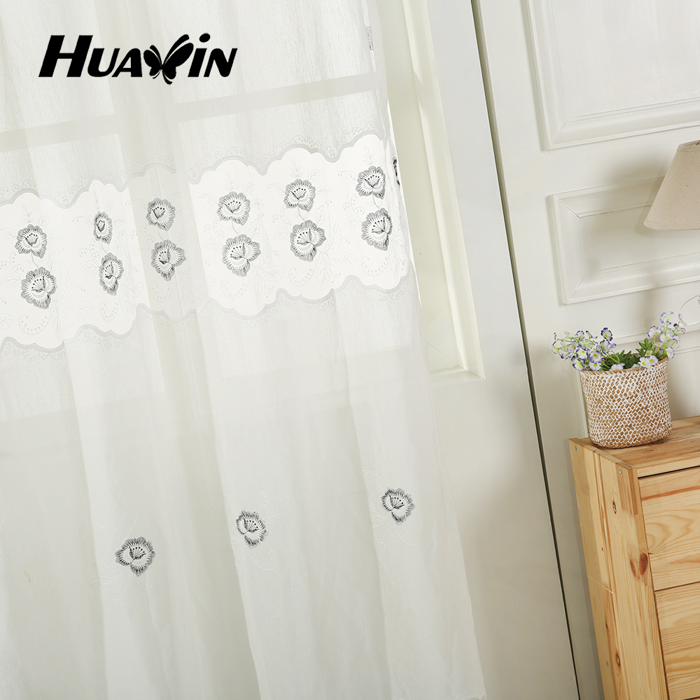 100%polyester ready made sheer gauze embroidery curtain for home