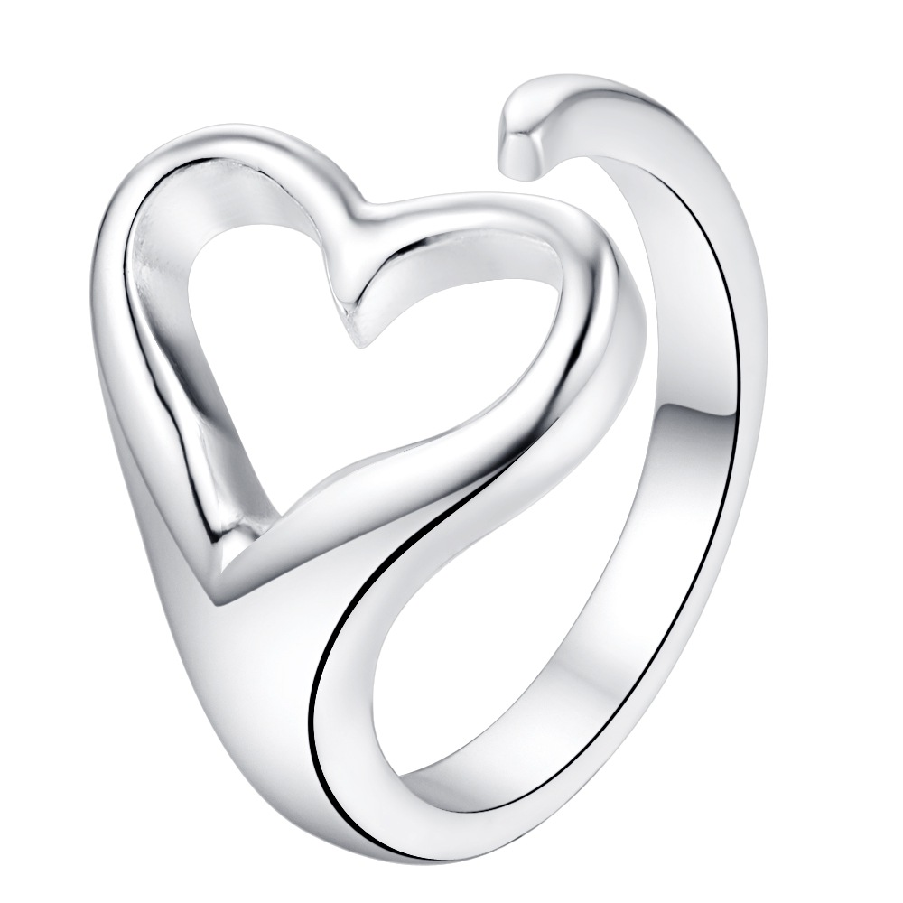 Tryme silver plated women heart lady wedding party rings fashion jewelry Free shipping heart ring opening